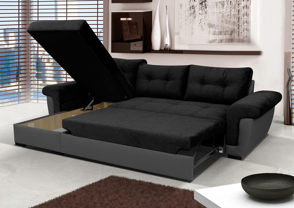 NEW Corner Sofa Bed with Storage Black Fabric Grey