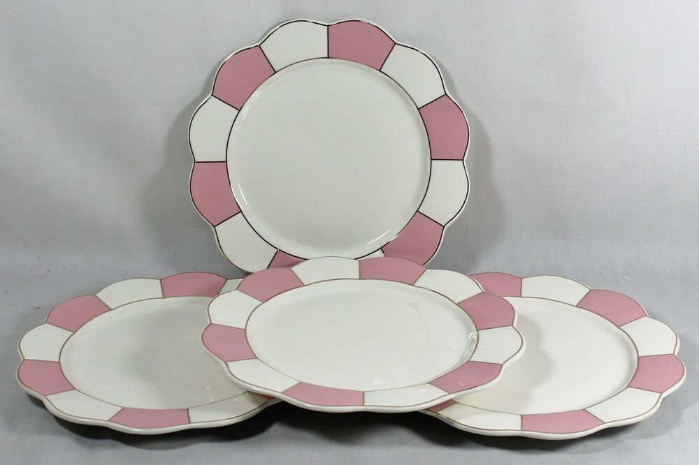 Cynthia Rowley Porcelain Dinner Plates Pink White
