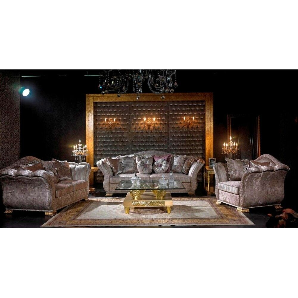 exklusive luxus couchgarnitur grau silber 3 2 1 sofa set sitzgarnitur ebay. Black Bedroom Furniture Sets. Home Design Ideas