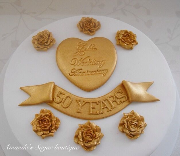 GOLDEN WEDDING ANNIVERSARY CAKE DECORATIONS gold roses ...