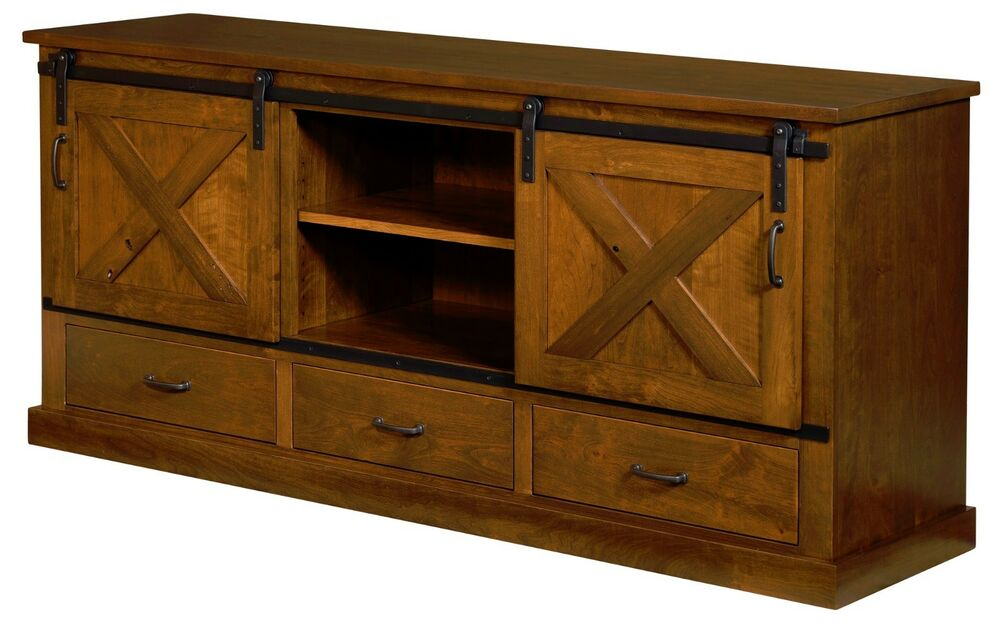 Amish Rustic TV Console Cabinet Solid Rustic Cherry Wood