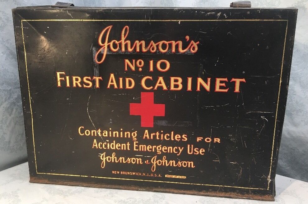 Vtg Antique Johnson S First Aid Wall Hanging Cabinet No