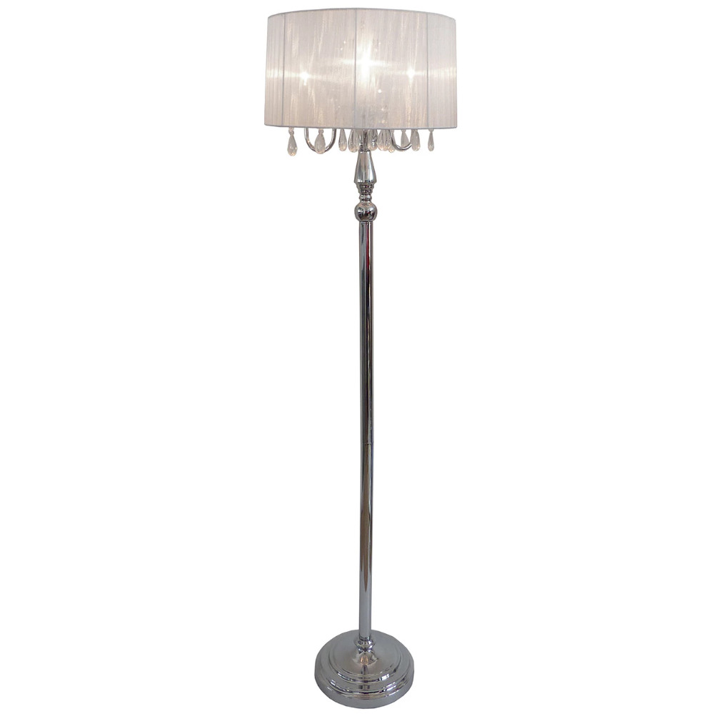 Modern Chrome Crystal Pole Floor Lamp Shade Tall Mid