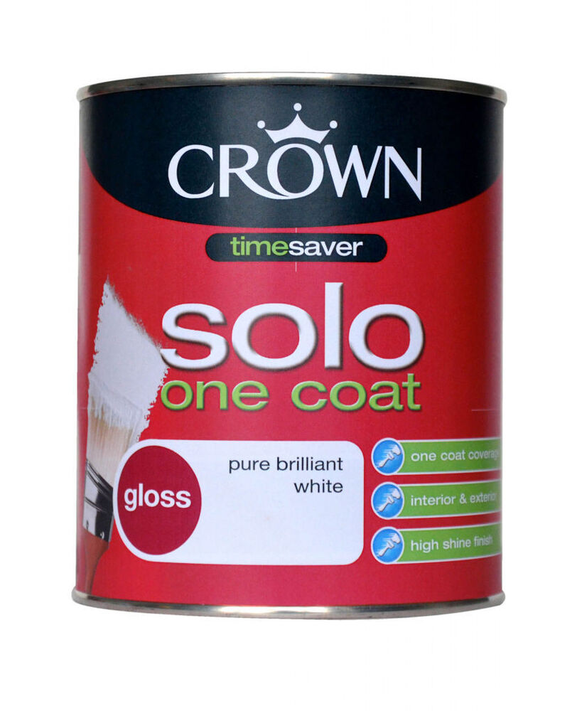 Crown 750ml solo one coat gloss paint brilliant white for One coat white paint