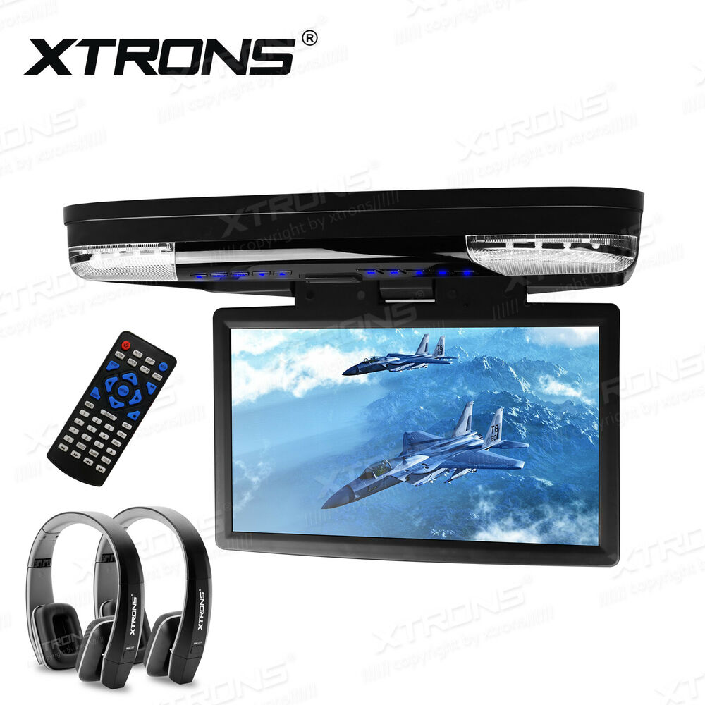 """15"""" LCD Flip Down Overhead Roof Mount 1080P Car DVD Player"""