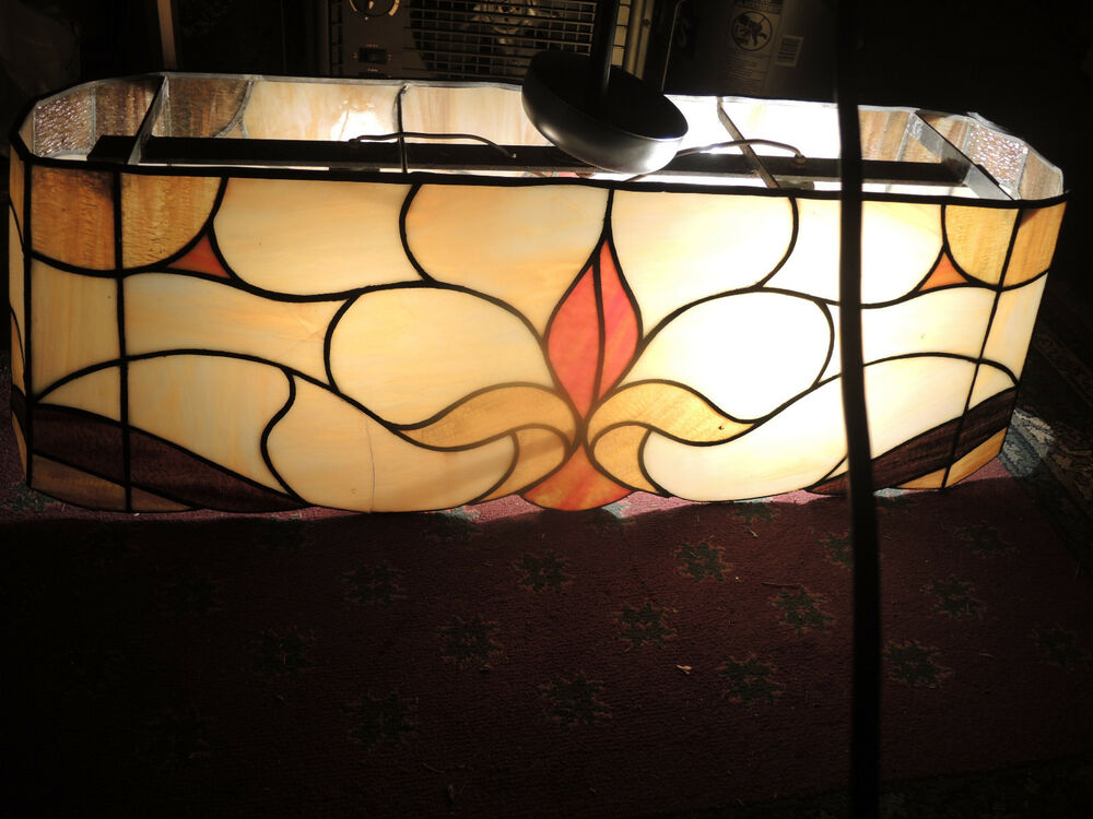 antique stained leaded glass pool table light ebay. Black Bedroom Furniture Sets. Home Design Ideas