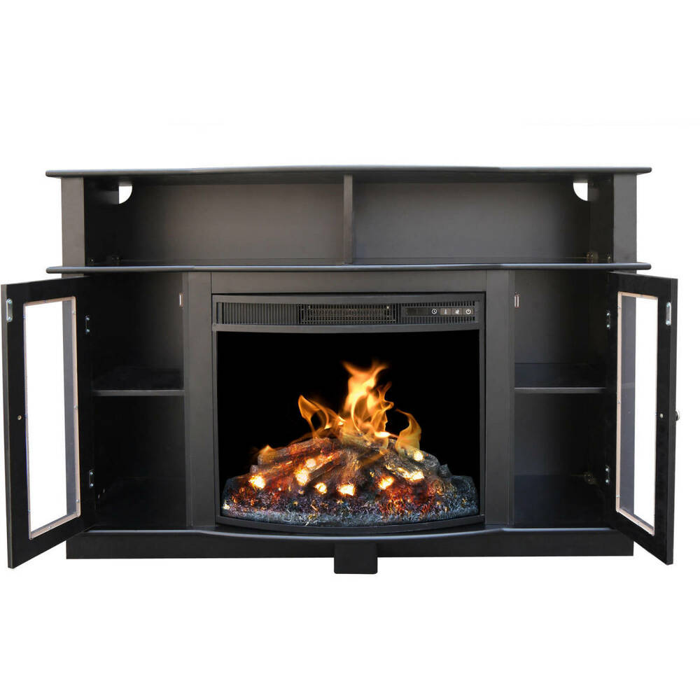 tv stand entertainment center media console shelves electric fireplace black new ebay. Black Bedroom Furniture Sets. Home Design Ideas