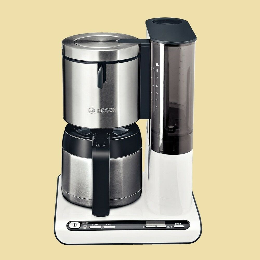 bosch thermo kaffeemaschine tka 8651 styline mit timer weiss edelstahl ebay. Black Bedroom Furniture Sets. Home Design Ideas