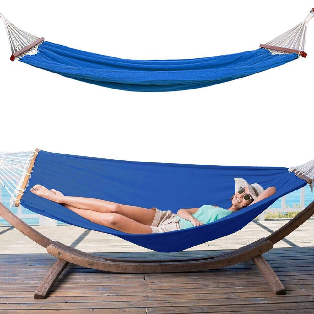 Patio Hammock: 2 Person Outdoor Hammock Cotton Double Size Sleeping Bed