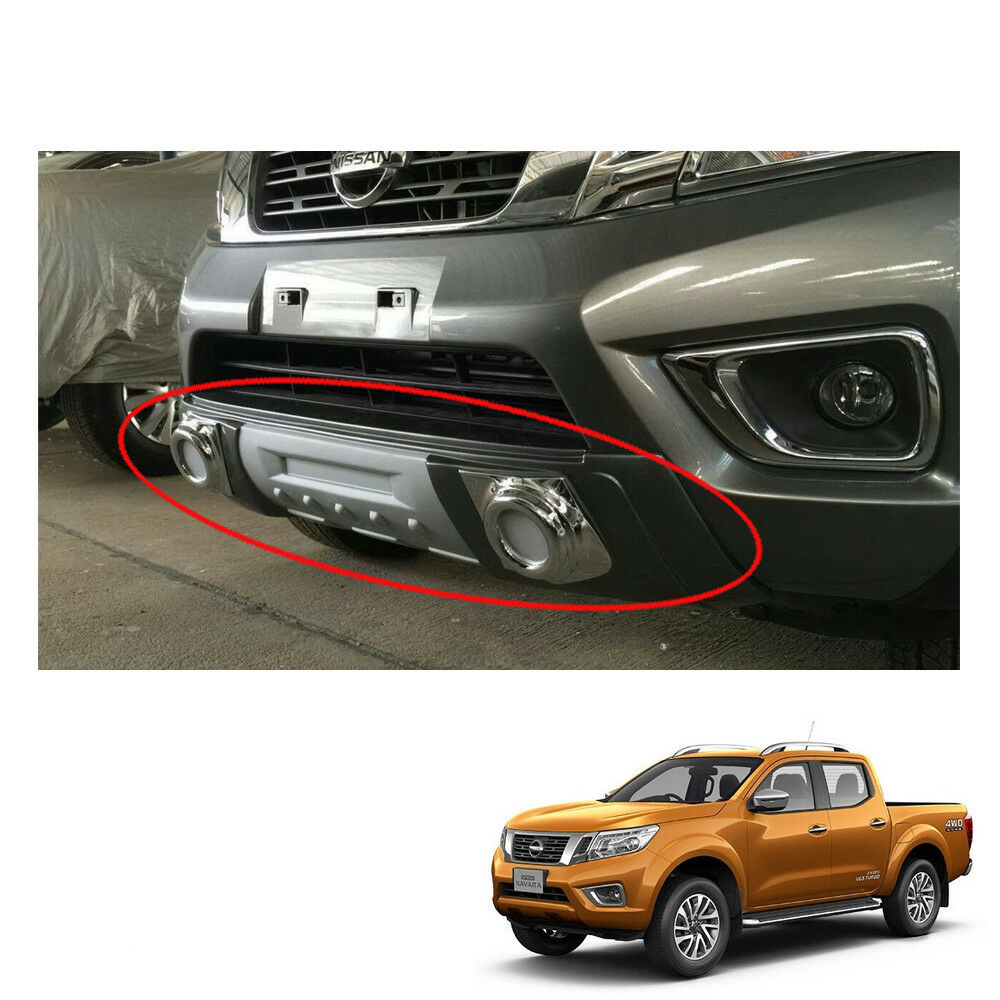 nissan bumper front navara np300 frontier under cladding gray trim steel guard stainless silver medium amazon