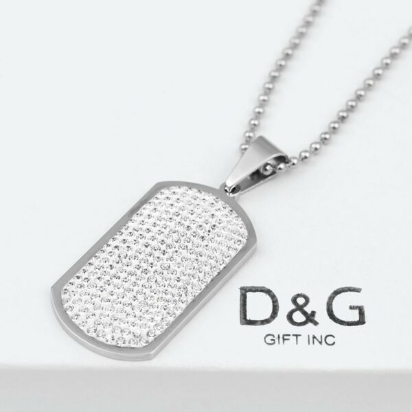 DG Stainless Steel Silver 49mm DOG TAG CZ Pendant 30