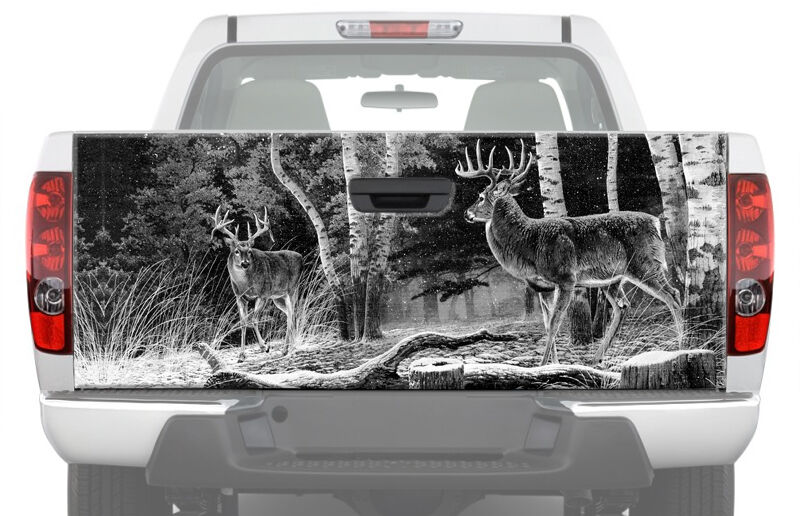 Deers In Forest Bw Tailgate Graphic Decal Sticker Truck