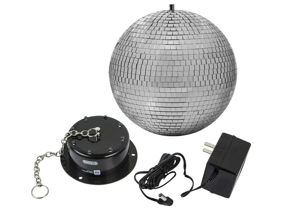 10 inch disco mirror ball motor spin with led lights for dj disco party show ebay. Black Bedroom Furniture Sets. Home Design Ideas