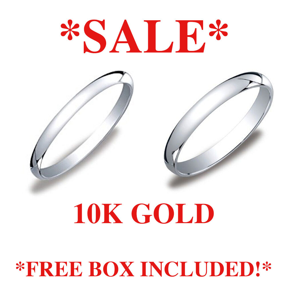Solid 10k White Gold 2mm 3mm All Sizes Men Women Wedding