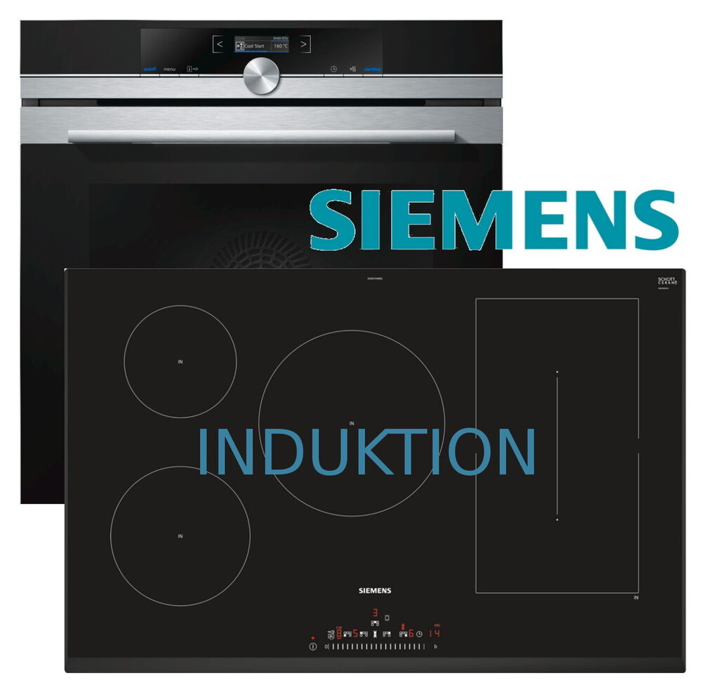 siemens herdset autark herd backofen induktion kochfeld 80cm touchslider neu ebay. Black Bedroom Furniture Sets. Home Design Ideas