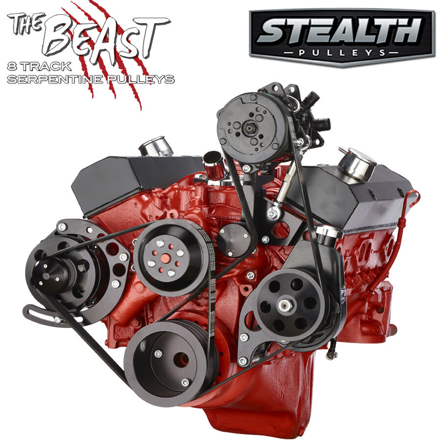 Black Chevy Small Block Serpentine Conversion Kit Ac Power Alternator Without Steering Diagram For A 1969 Corvette Lwp Ebay
