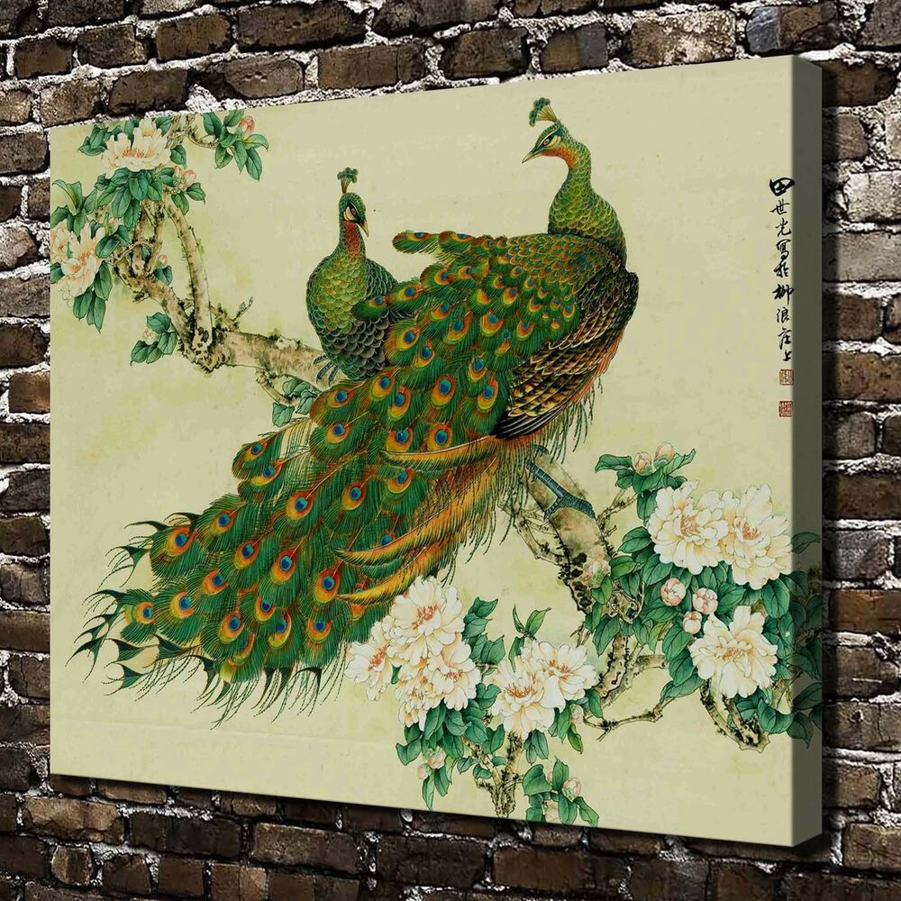 Chinese painting peacock hd print on canvas home decor for Home decorations on ebay