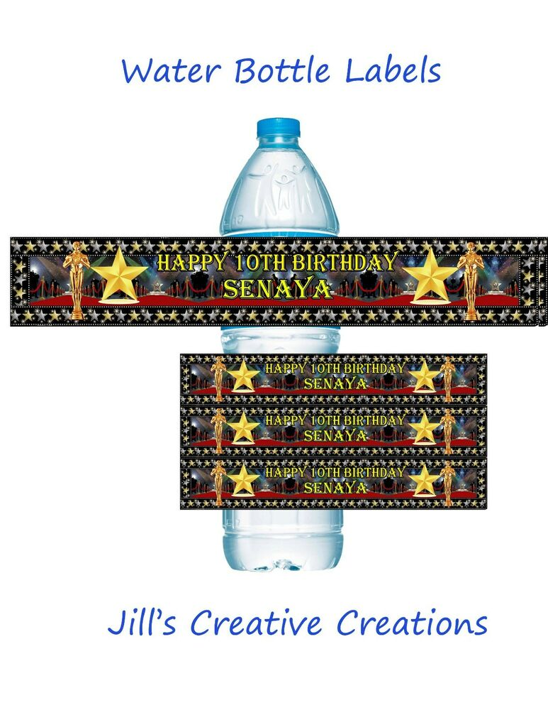 Hollywood water bottle labels birthday water bottle for Buy water bottle labels