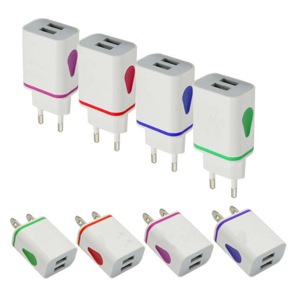 2.1A 5V LED 2 USB Wall Charger Travel Adapter Fast Charging For iPhone Samsung K