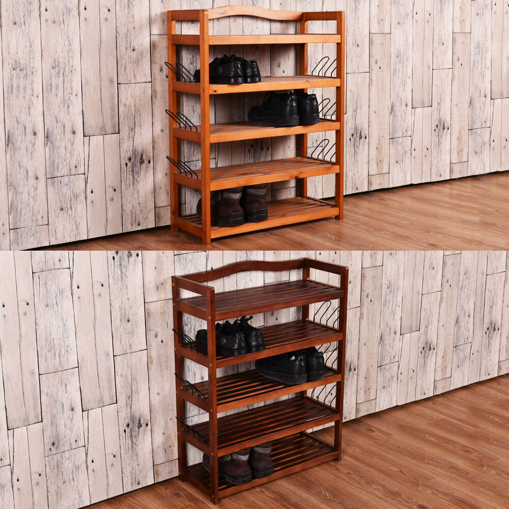5 tier wooden shoe rack shelf storage organizer entryway 2
