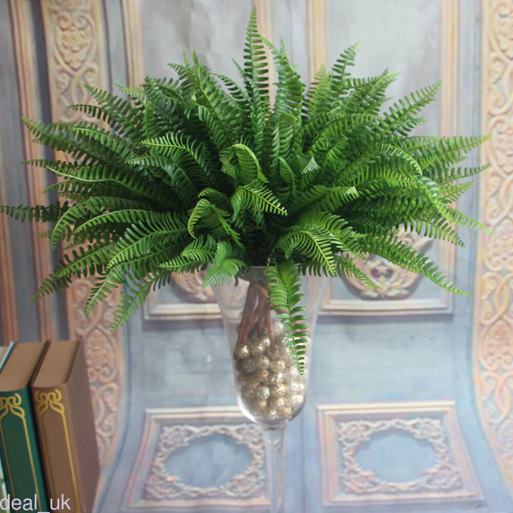 Artificial fern foliage bush plants for indoor outdoor for Artificial grass indoor decoration