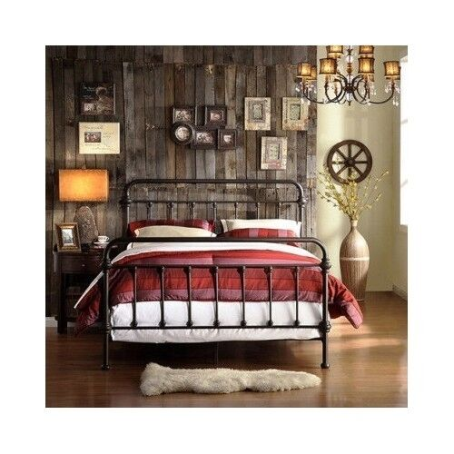 queen size bed vintage antique iron victorian metal headboard footboard frame ebay. Black Bedroom Furniture Sets. Home Design Ideas