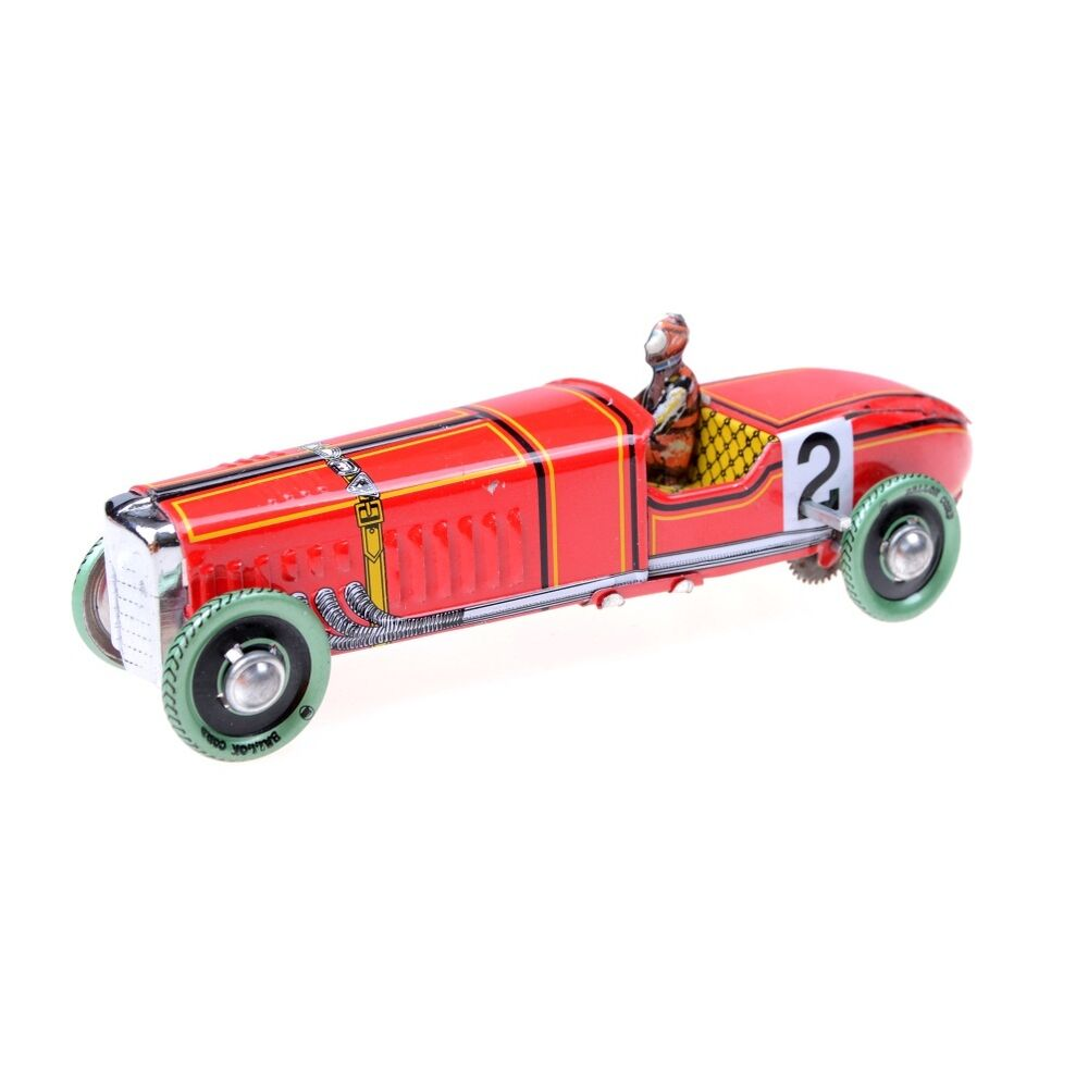 Vintage Red Wind Up Racing Old Classic Race Car Model