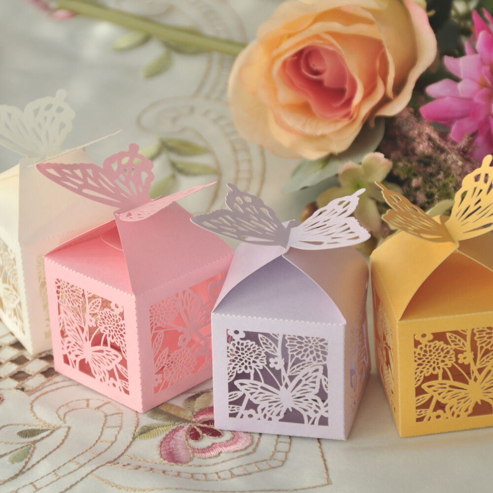 10/50/100 Butterfly Laser Cut Candy Gifts Boxes Favor Boxes Wedding ...