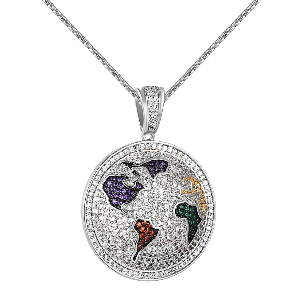 Round World Globe Pendant Iced Out Simulated Diamonds Free