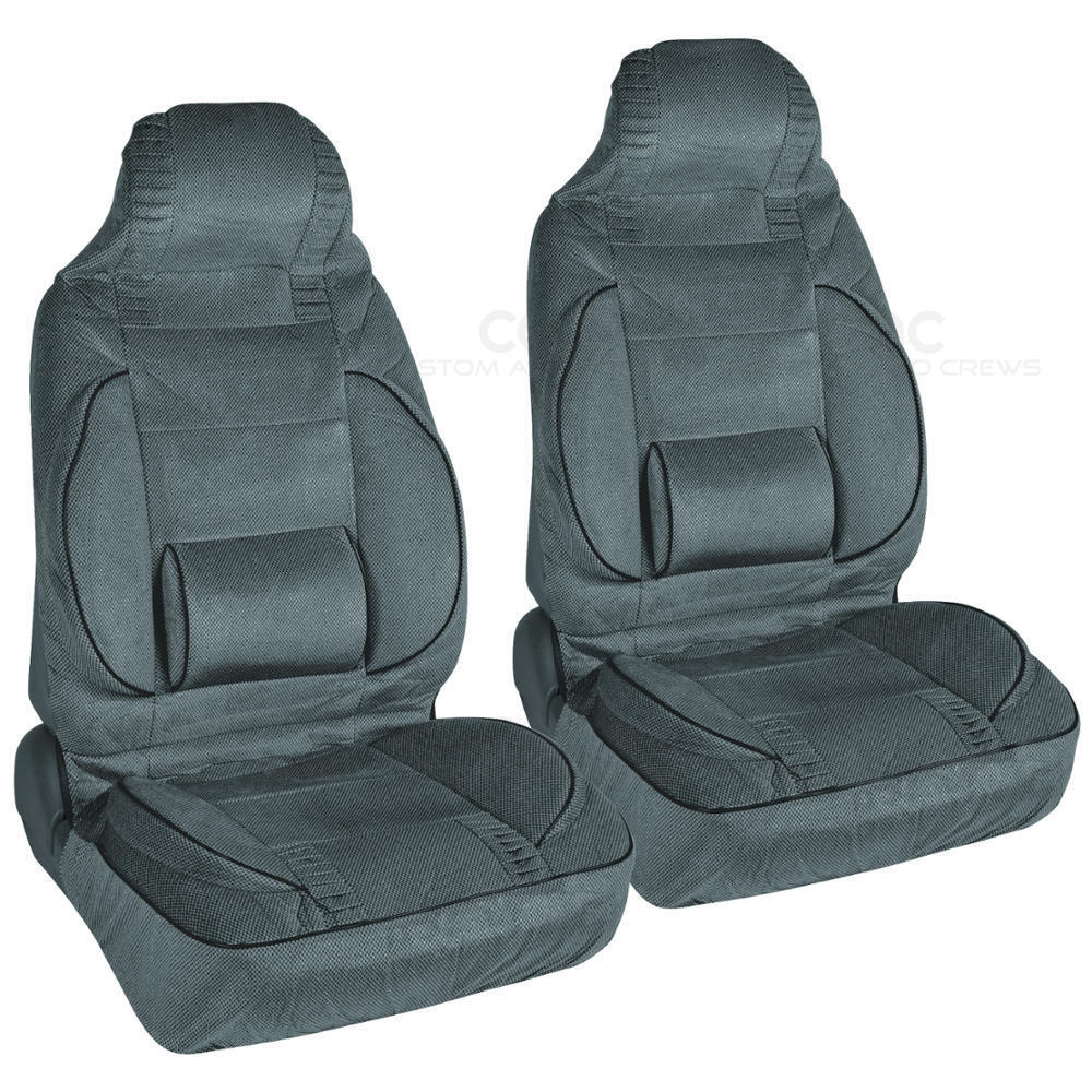 set of 2 high back car seat covers w built in lumbar support comfort charcoal ebay. Black Bedroom Furniture Sets. Home Design Ideas