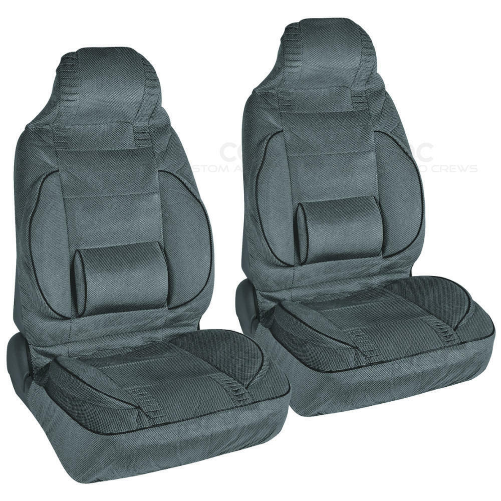 built in lumbar support comfort car seat covers charcoal 2pc high back bucket ebay. Black Bedroom Furniture Sets. Home Design Ideas