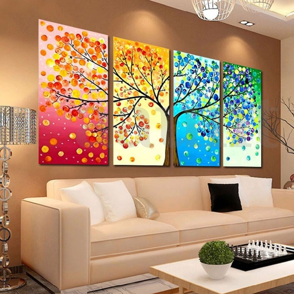 4pcs colorful season tree canvas painting print picture for Drawing hall wall designs