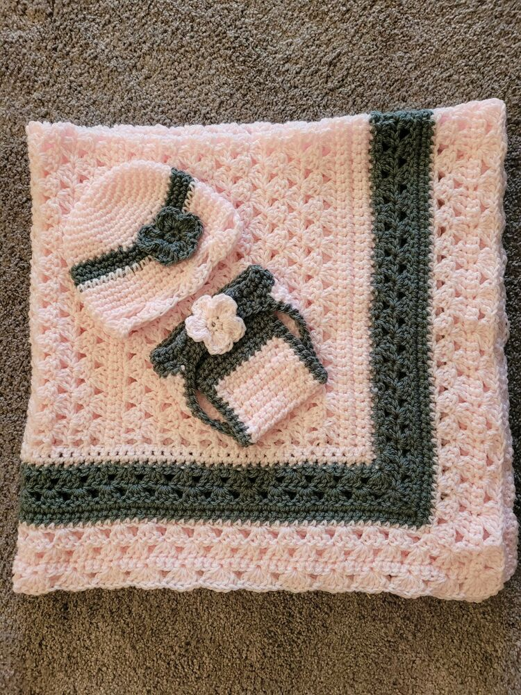Pink Gray Ruffle Hand Crochet Baby Blanket w lots of