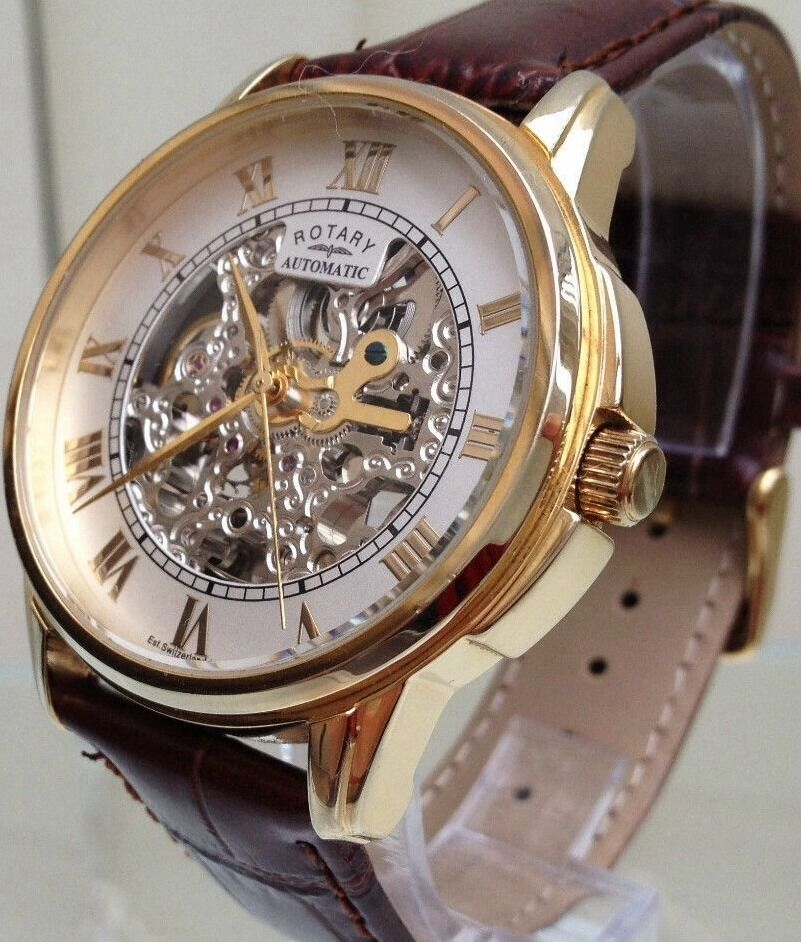 mens rotary automatic watch rotary automatic swiss men s watch 9ct gold plated skeleton watch used rrp£190