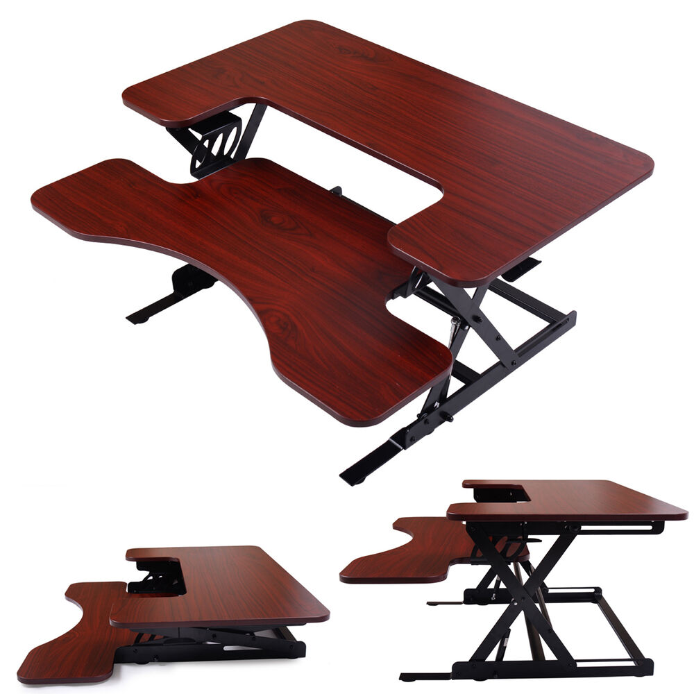 adjustable height stand up desk computer workstation lift rising laptop brown ebay. Black Bedroom Furniture Sets. Home Design Ideas