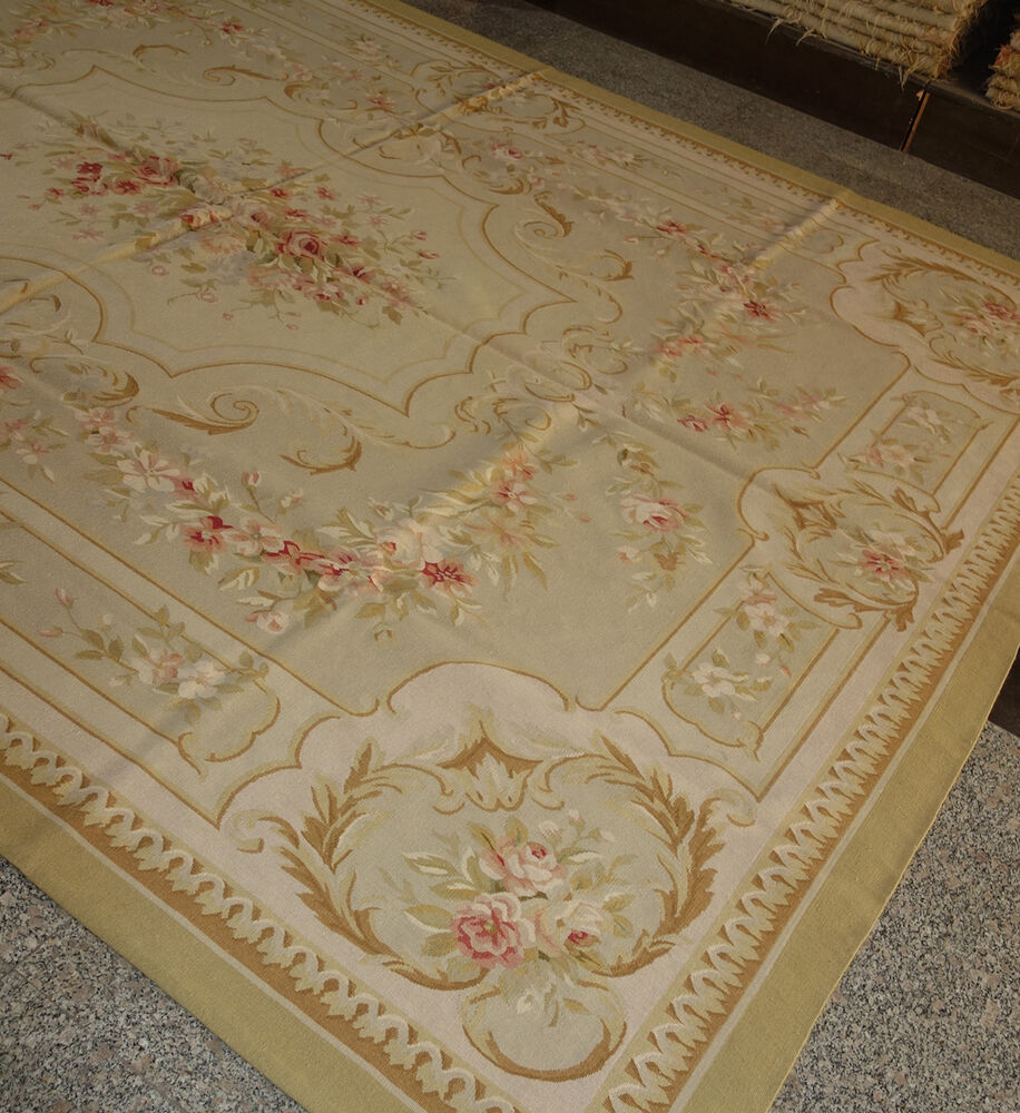 French Market Collection Pastel Tan Brown Aubusson Rug