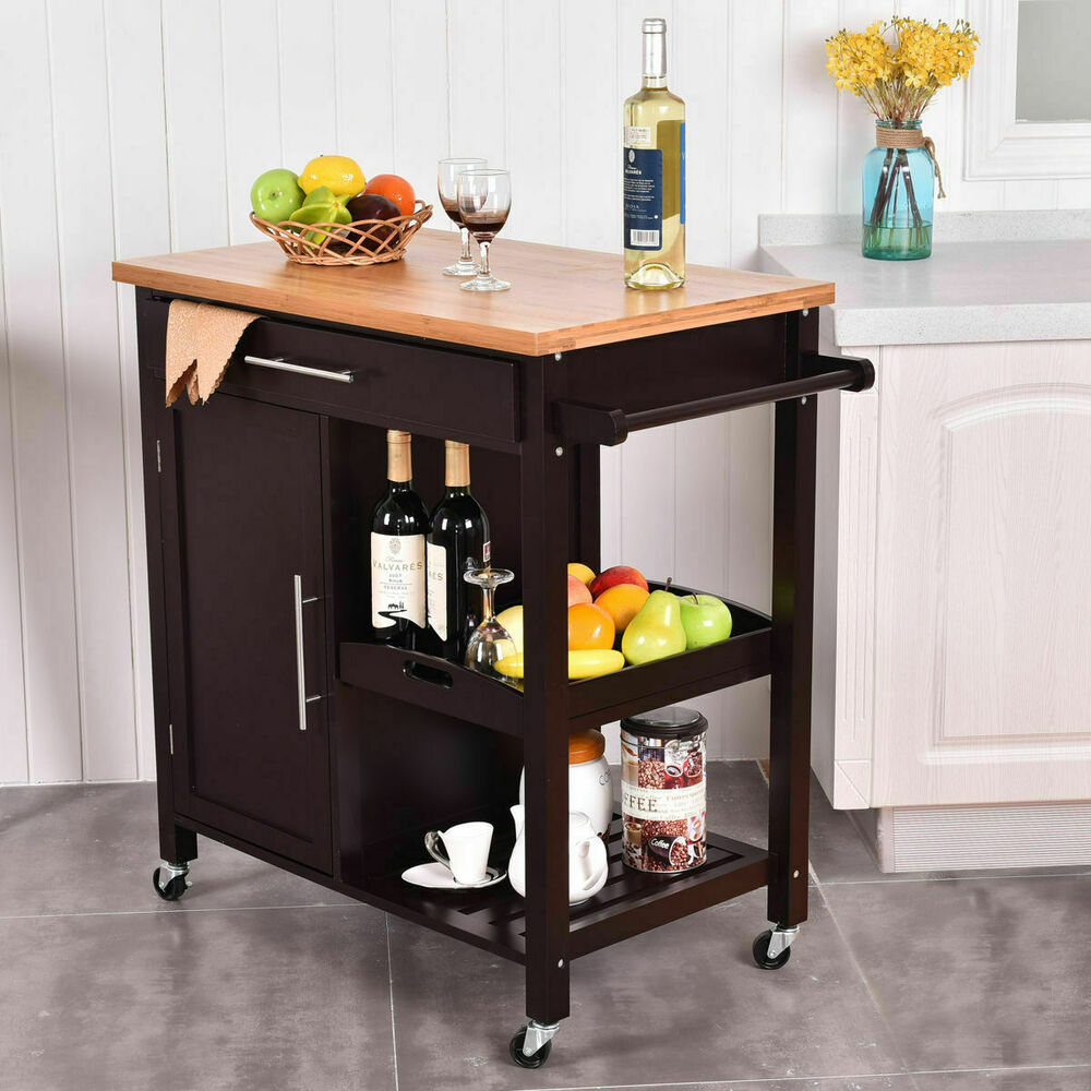 Rolling Kitchen Islands And Kitchen Island Carts: Rolling Wood Kitchen Island Trolley Cart Bamboo Top