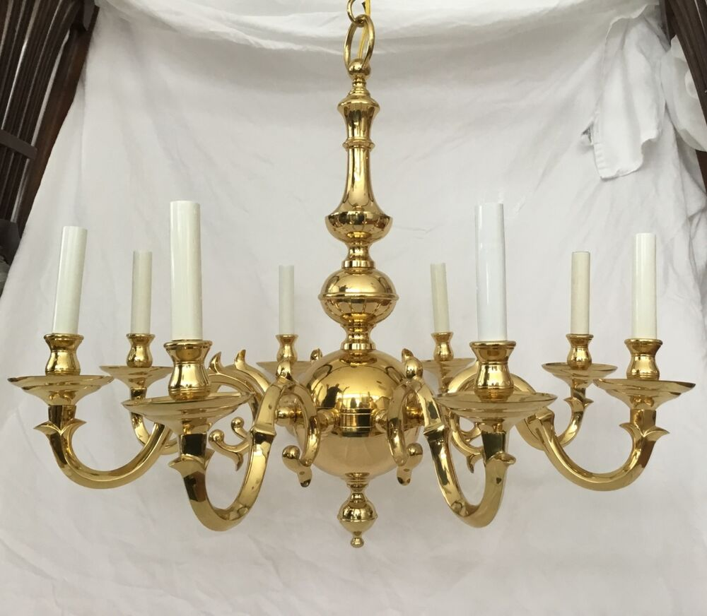Statley Vintage Solid Cast Brass 8 Arm Colonial