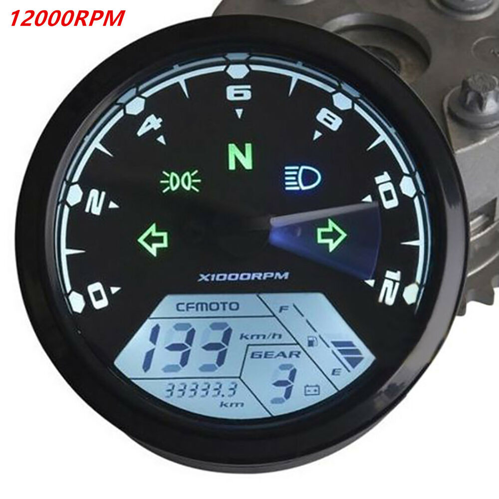 12000rpm Kmh Mph Lcd Digital Odometer Motorcycle