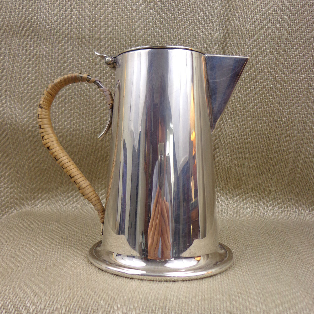 Vintage milk jug art deco bauhaus style silver plated cane for Style retro deco