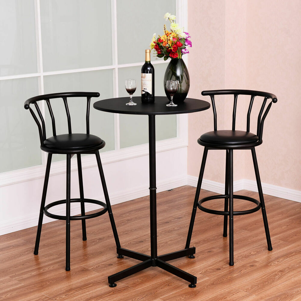 Black Bar Set: 3 Piece Bar Table Set With 2 Stools Bistro Pub Kitchen