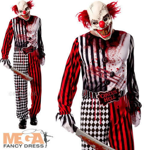 evil clown mens fancy dress halloween circus gore scary spooky adults costume ebay. Black Bedroom Furniture Sets. Home Design Ideas