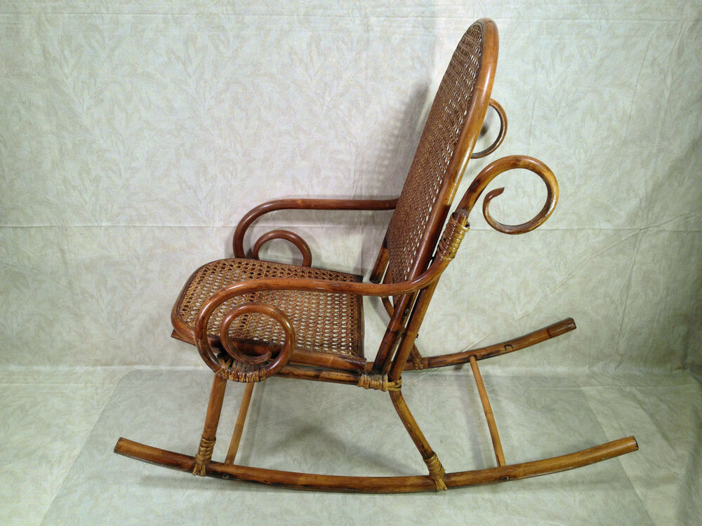 Vintage Childs Rattan And Bamboo Bentwood Chair Rocker Ebay