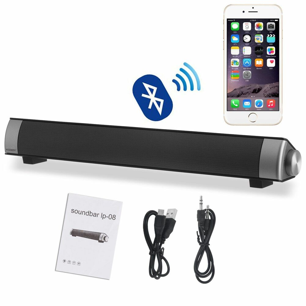 Small Sound Bar 10W (5Wx2) Wireless W/Built-in Subwoofer Speaker Bluetooth 3.0