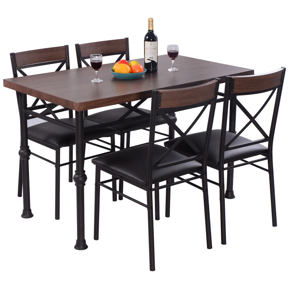 5 piece dining set table and 4 chairs wood metal kitchen for Breakfast sets furniture