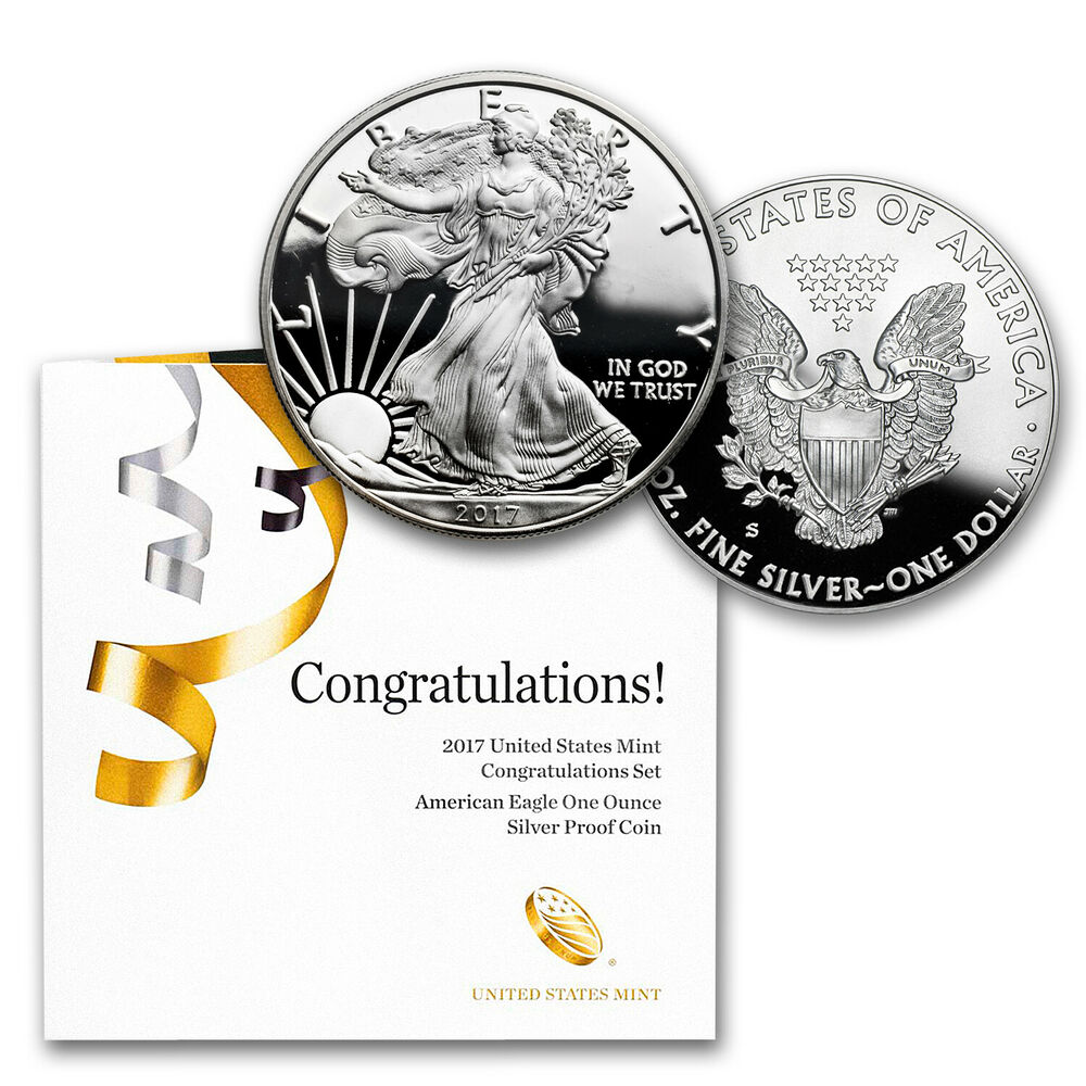 2017 S 1 Oz Proof Silver American Eagle Congratulations