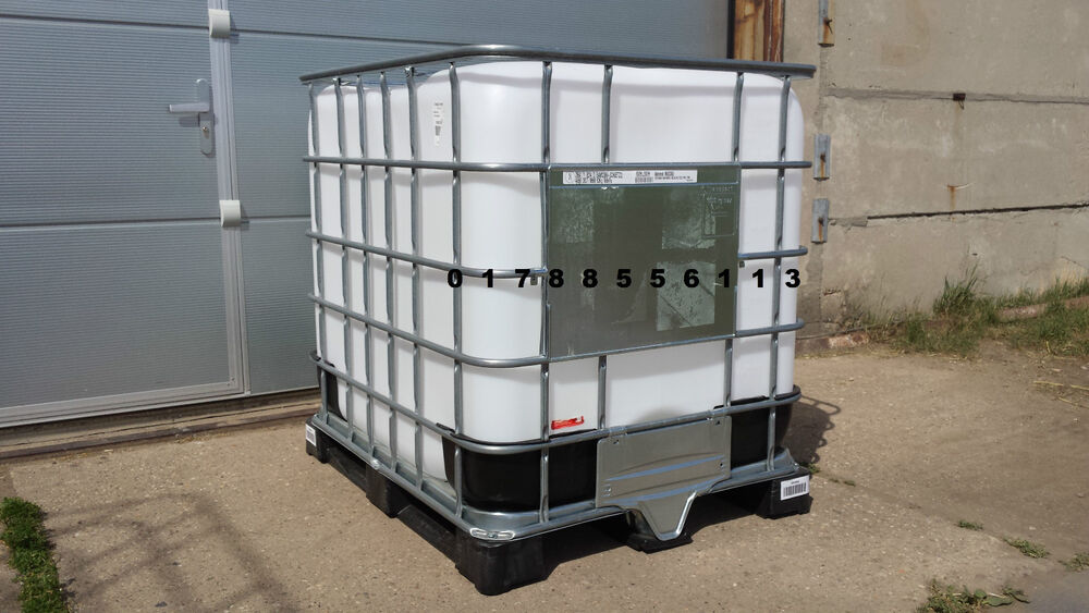 neuwertige container ibc tonne fass wasserbeh lter k bel tank 1000l regenfass ebay. Black Bedroom Furniture Sets. Home Design Ideas