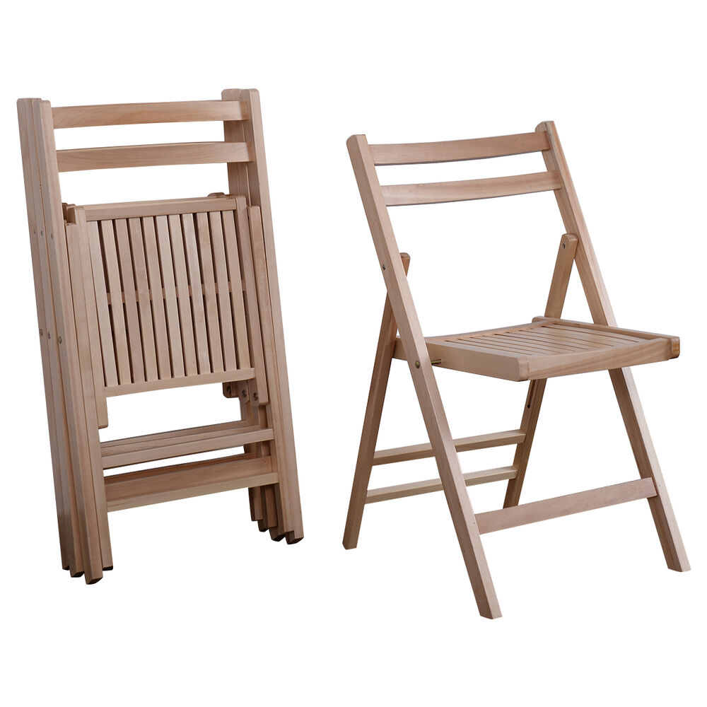 Set Of 4 Wood Folding Chairs Natural Finish Patio Garden