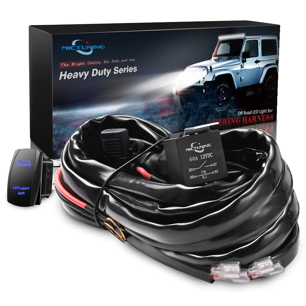 Mictuning Hd Wire Harness Led Light Bar1 2 Gauge 600w 60a Relay Fuse Funny Wiring Blue Switch