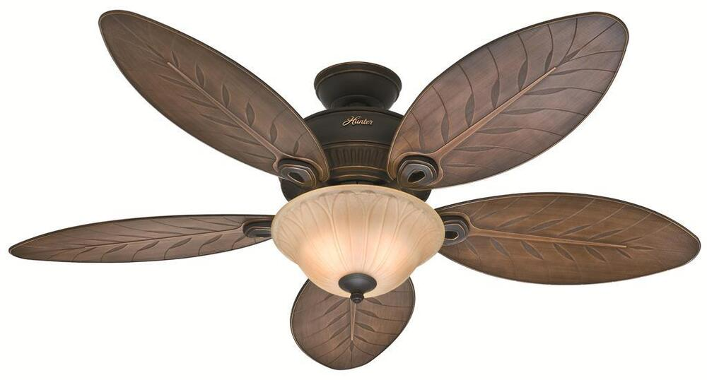 Hunter 54 Quot Tropical Style Onyx Bengal Outdoor Damp Rated Light Ceiling Fan Ebay